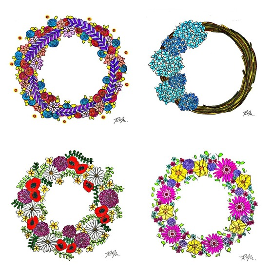 Summer winter autimn and spring illustrations of wreaths for the #februaryinbloomchallenge