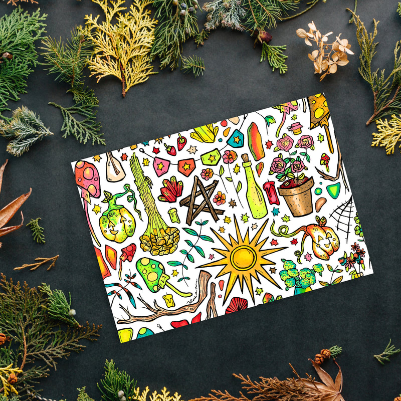A Hand Illustrated 5 x 7 horizontal card with witchy botanical imagery in pinks and greens