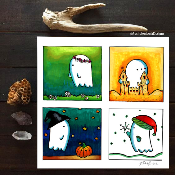 Hand illustrated designs for ghosts in every season