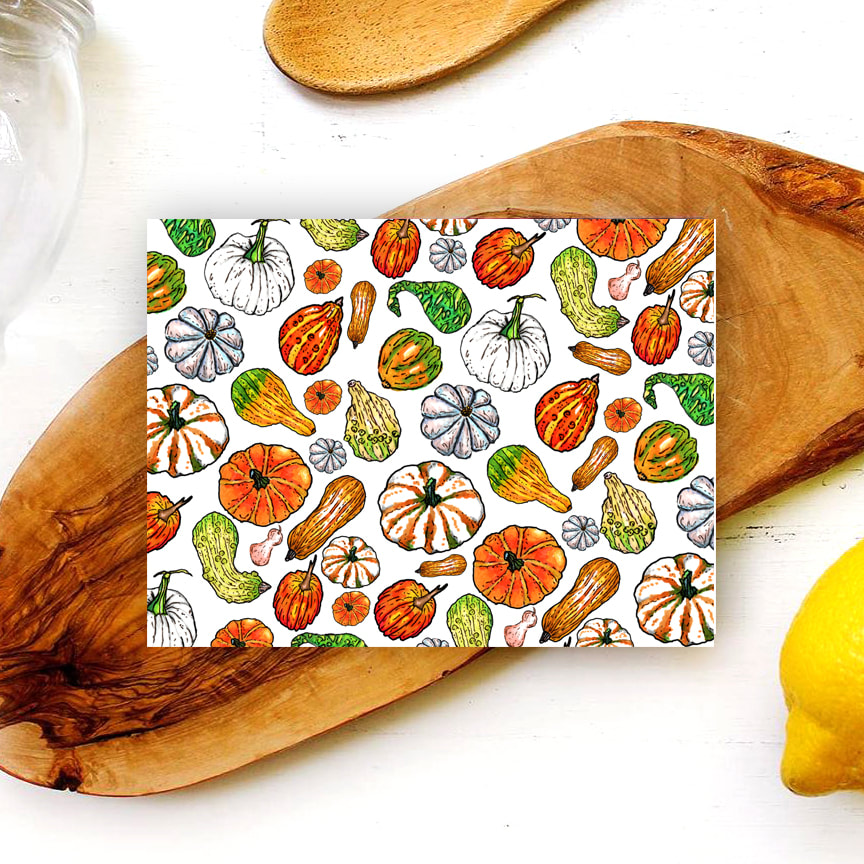 Hand Illustrated Pumpking and Gourds on a 5 x 7 Horizontal Card